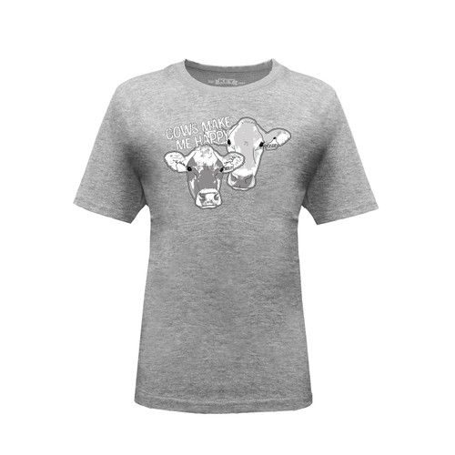 Kid's TDF Honest Farming Cows Make Me Happy Graphic Tee Cotton Polyester Short Sleeve Crew Neck