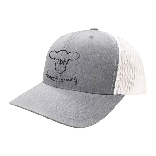 TDF Honest Farming Logo Hat Six Panel Two Tone Polyester Cotton Mesh Embroidered Adjustable Snapback Trucker Cap