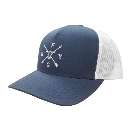 NYFG Logo Hat Five Panel Two Tone Polyester Cotton Mesh Embroidered Adjustable Snapback Trucker Cap