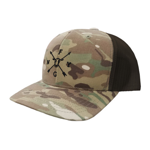 NYFG Logo Hat Six Panel Camouflage Polyester Cotton Mesh Embroidered Adjustable Snapback Trucker Cap
