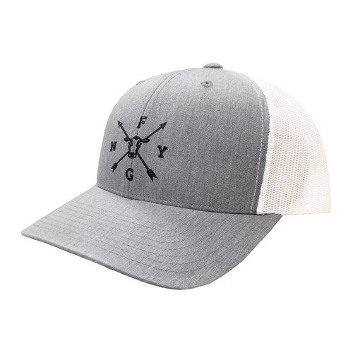 NYFG Logo Hat Six Panel Two Tone Polyester Cotton Mesh Embroidered Adjustable Snapback Trucker Cap
