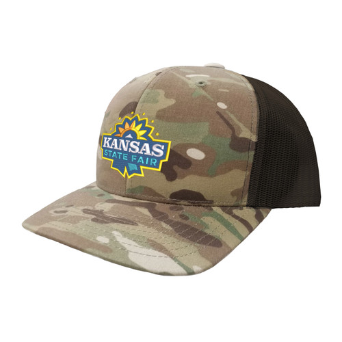 Kansas State Fair Logo Hat Six Panel Camouflage Polyester Cotton Mesh Embroidered Adjustable Snapback Trucker Cap