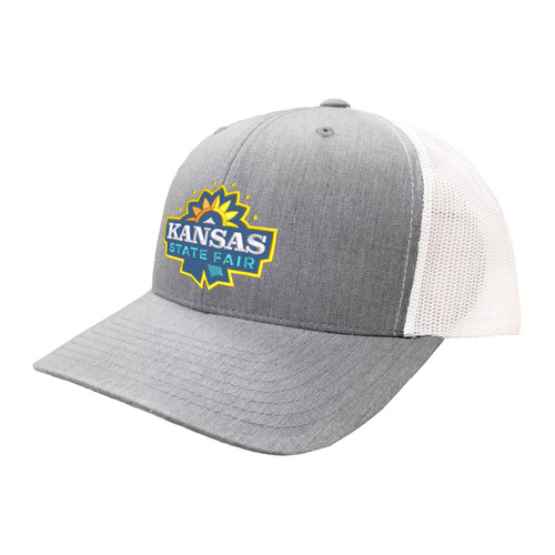 Kansas State Fair Logo Hat Six Panel Two Tone Polyester Cotton Mesh Embroidered Adjustable Snapback Trucker Cap