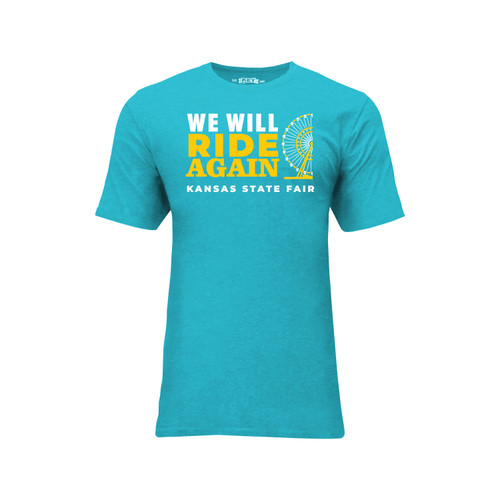 Kansas State Fair We Will Ride Again Graphic Tee Cotton Polyester Short Sleeve Crew Neck