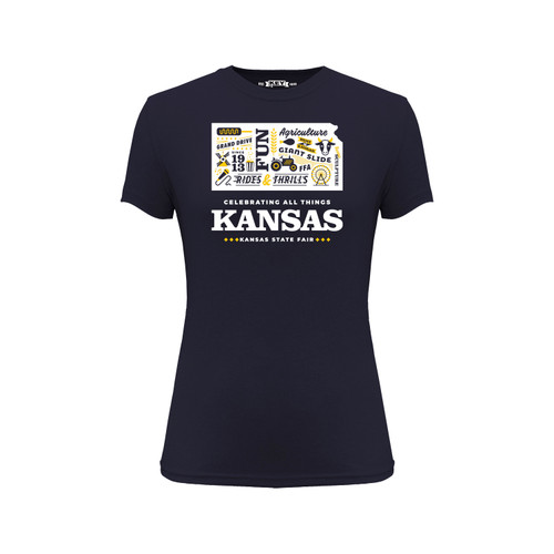 Kansas State Fair Celebrating Kansas Graphic Tee Cotton Polyester Short Sleeve Crew Neck