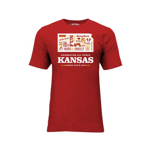 Kansas State Fair Celebrating Kansas Graphic Tee Cotton Polyester Short Sleeve Crew Neck
