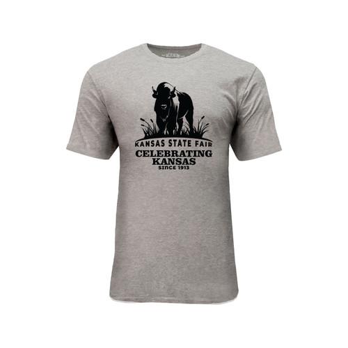 Kansas State Fair Bison Graphic Tee Cotton Polyester Short Sleeve Crew Neck