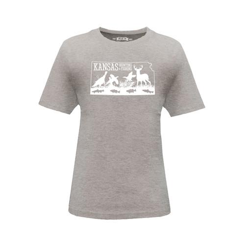 Kid's Kansas Hunting & Fishing Logo Graphic Tee Cotton Polyester Short Sleeve Crew Neck