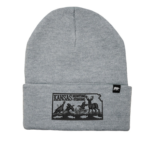 Kansas Hunting & Fishing Logo Beanie Acrylic Knit Thinsulate Insulation