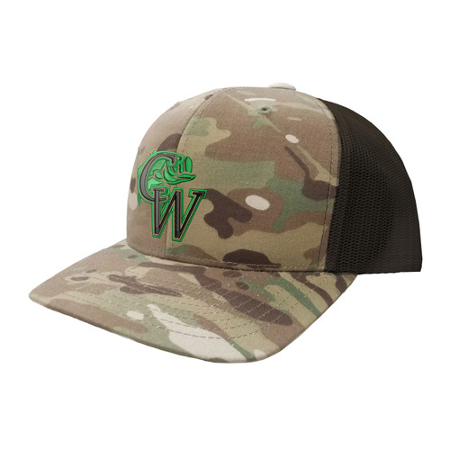 CW Fishing Logo Hat Six Panel Camouflage Polyester Cotton Mesh Embroidered Adjustable Snapback Trucker Cap