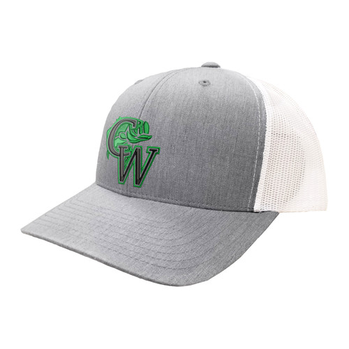 CW Fishing Logo Hat Six Panel Two Tone Polyester Cotton Mesh Embroidered Adjustable Snapback Trucker Cap
