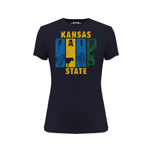 Kansas State Fair Panel Graphic Tee Cotton Polyester Short Sleeve Crew Neck