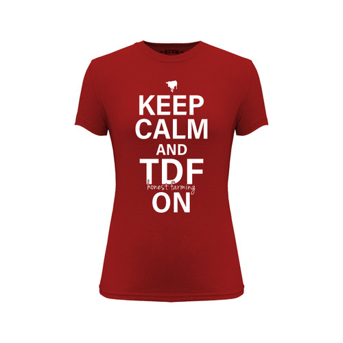 Women's Keep Calm and TDF On Graphic Tee Cotton Polyester Short Sleeve Crew Neck