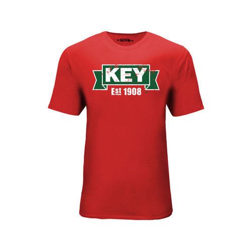 Men's KEY Logo Tee Cotton Polyester Crew Neck Taped seams
