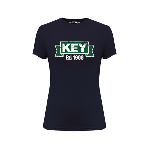 Women's KEY Logo Tee Cotton Polyester Crew Neck Taped seams