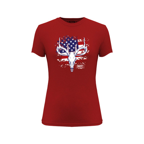 Women's KEY American Hunter Tee Cotton Polyester Crew Neck Taped seams