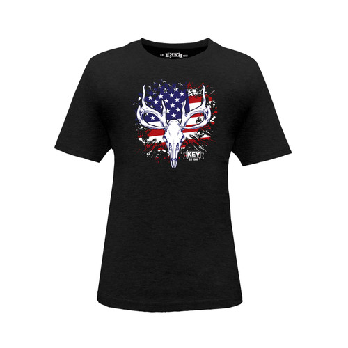 Kid's KEY American Hunter Tee Cotton Polyester Crew Neck Taped Seams