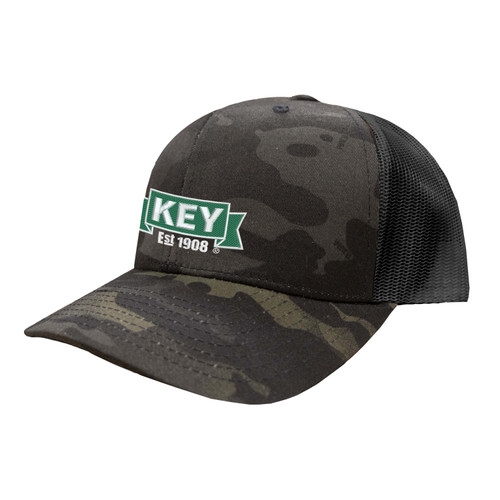 KEY Logo Hat Six Panel Camouflage Polyester Cotton Mesh Embroidered Adjustable Snapback Trucker Cap