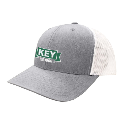 KEY Logo Hat Six Panel Two Tone Polyester Cotton Mesh Embroidered Adjustable Snapback Trucker Cap