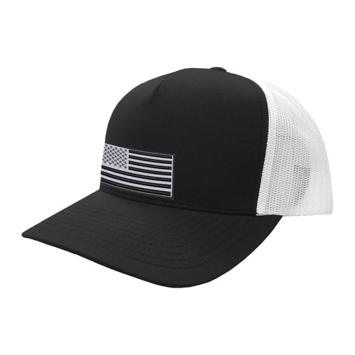 KEY American Flag Hat Five Panel Two Tone Polyester Cotton Mesh Embroidered Adjustable Snapback Trucker Cap