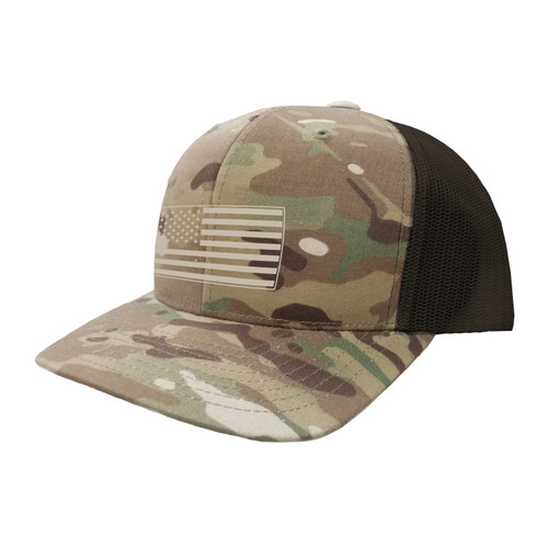 KEY American Flag Hat Six Panel Camouflage Polyester Cotton Mesh Embroidered Adjustable Snapback Trucker Cap