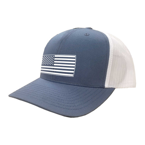 KEY American Flag Hat Six Panel Two Tone Polyester Cotton Mesh Embroidered Adjustable Snapback Trucker Cap