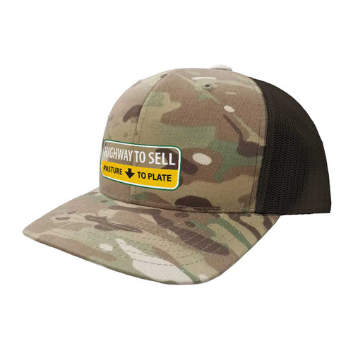Peterson Highway to Sell Hat Six Panel Camouflage Polyester Cotton Mesh Embroidered Adjustable Snapback Trucker Cap