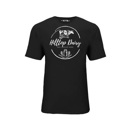 Men's Hilltop Dairy Logo Tee Cotton Polyester Crew Neck Taped seams