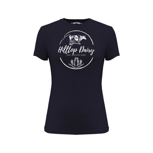 Women's Hilltop Dairy Logo Tee Cotton Polyester Crew Neck Taped seams
