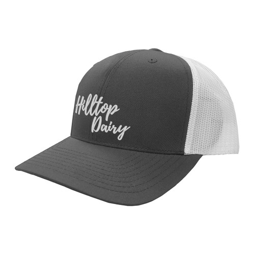 Hilltop Dairy Logo Hat Six Panel Two Tone Polyester Cotton Mesh Embroidered Adjustable Snapback Trucker Cap