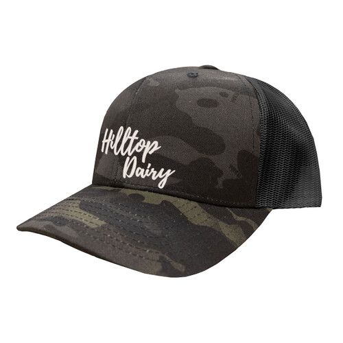 Hilltop Dairy Logo Hat Six Panel Camouflage Polyester Cotton Mesh Embroidered Adjustable Snapback Trucker Cap