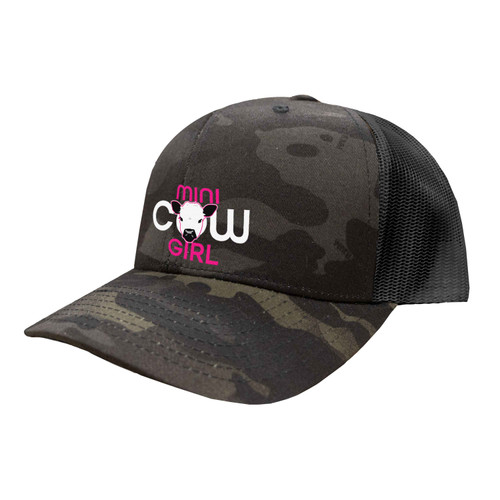 Mini Cow Girl Logo Hat Six Panel Camouflage Polyester Cotton Mesh Embroidered Adjustable Snapback Trucker Cap