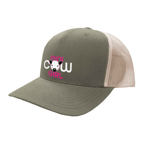 Mini Cow Girl Logo Hat Six Panel Two Tone Polyester Cotton Mesh Embroidered Adjustable Snapback Trucker Cap