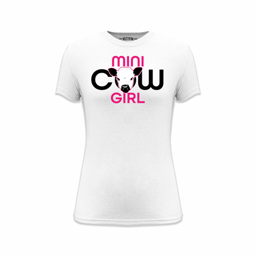 Women's Mini Cow Girl Logo Tee Cotton Polyester Crew Neck Taped seams