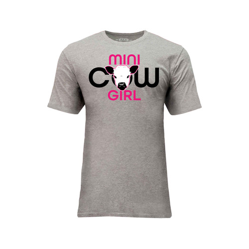 Men's Mini Cow Girl Logo Tee Cotton Polyester Crew Neck Taped seams