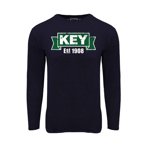 KEY Logo Long Sleeve Tee Cotton Polyester Crew Neck Taped seams