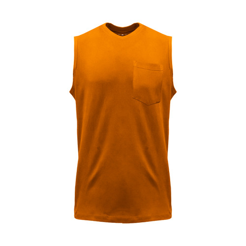 Blended Sleeveless T-Shirt Cotton Polyester Pocket Crew Neck