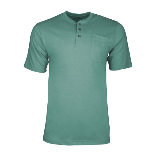 Heavyweight Henley T-Shirt Short Sleeve Cotton Polyester Left Chest Pocket Hemmed Sleeves