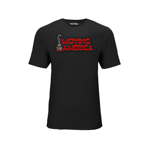 Men's Moving America Logo Tee Cotton Polyester Crew Neck Taped seams
