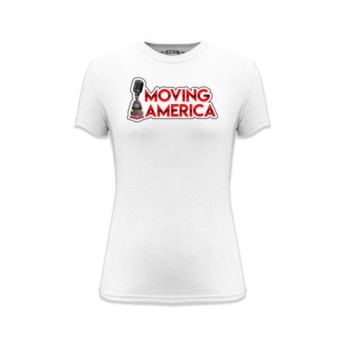 Women's Moving America Logo Tee Cotton Polyester Crew Neck Taped Seams