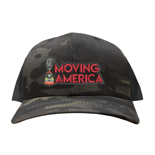 Moving America Logo Hat Six Panel Camouflage Polyester Cotton Mesh Embroidered Adjustable Snapback Trucker Cap
