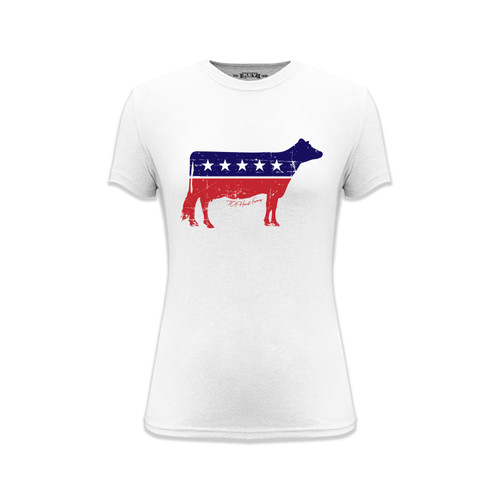 Women's TDF AmeriCow Graphic Tee Cotton Polyester Short Sleeve Crew Neck