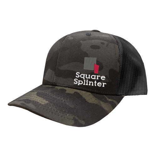 Square Splinter Logo Hat Six Panel Camouflage Polyester Cotton Mesh Embroidered Adjustable Snapback Trucker Cap