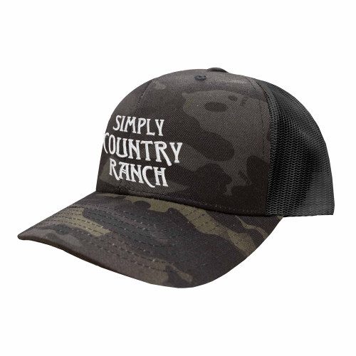 Simply Country Ranch Logo Hat Six Panel Camouflage Polyester Cotton Mesh Embroidered Adjustable Snapback Trucker Cap