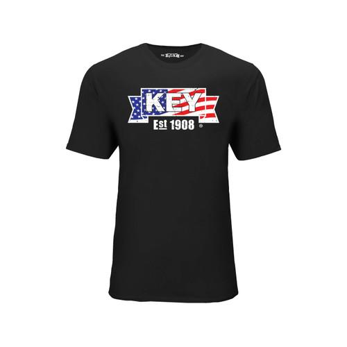 Men's American KEY Tee Cotton Polyester Crew Neck Taped seams