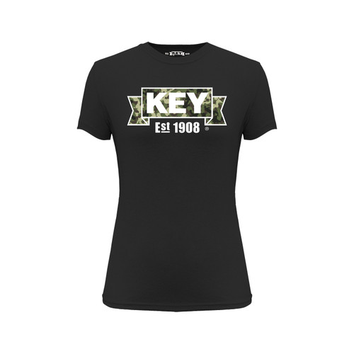 Women's Camo KEY Tee Cotton Polyester Crew Neck Taped seams