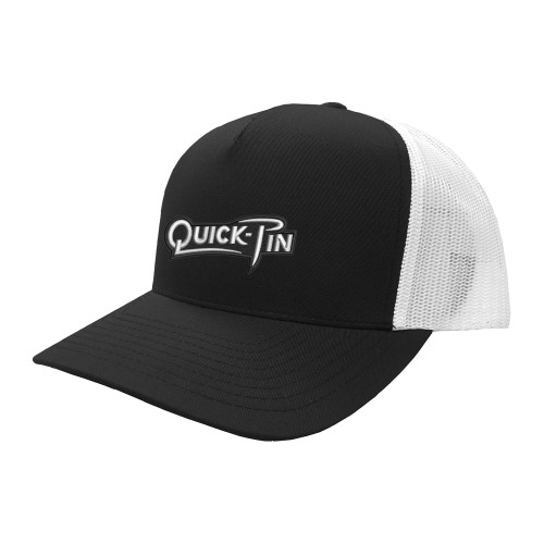White Quick Pin Logo embroidered on the black and white five panel adjustable trucker hat.