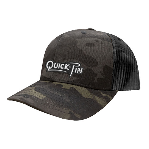 White Quick Pin logo embroidered on dark camo trucker hat.
