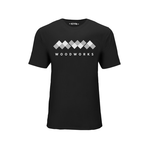 White and gray MWA Woodworks logo on black short sleeve crew neck Tee