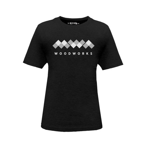 Kids' black short sleeve crew neck T-shirt with white MWA Woodworks Logo